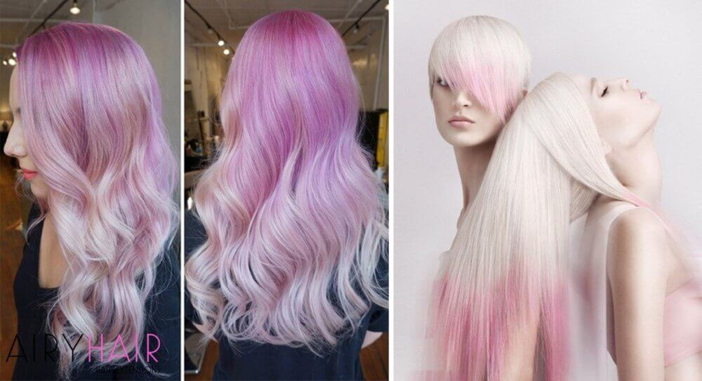 White pastel pink hair extensions