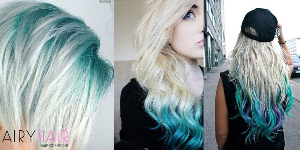 Teal white hair extensions