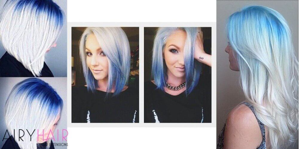 White blue hair extensions