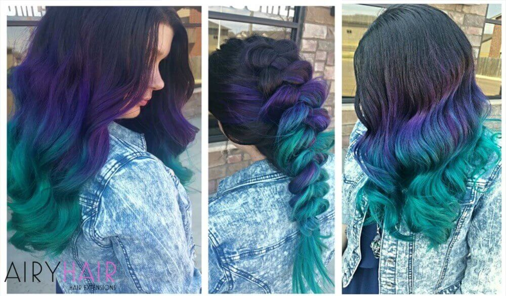 Black purple teal hair extensions