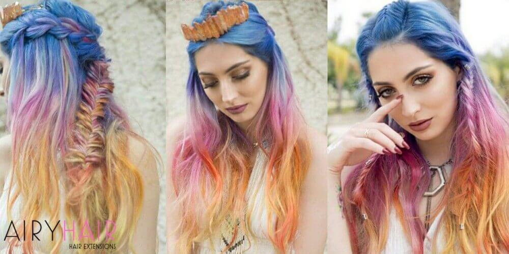 Blue pink orange hair extensions
