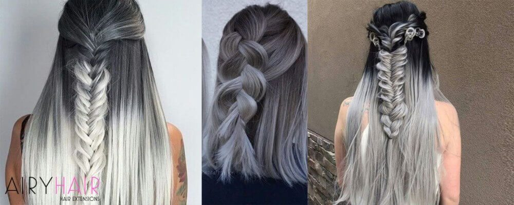 Black And Silver Ombre With Braids