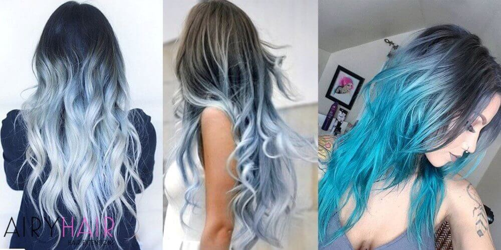 Gray blue hair extensions