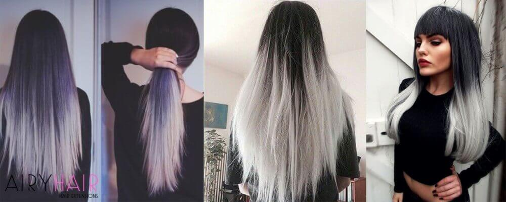 Black And Silver Ombre On Long And Straight Hair