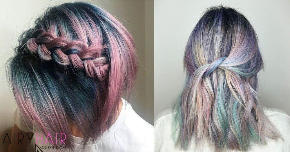 Pink pastel teal hair extensions