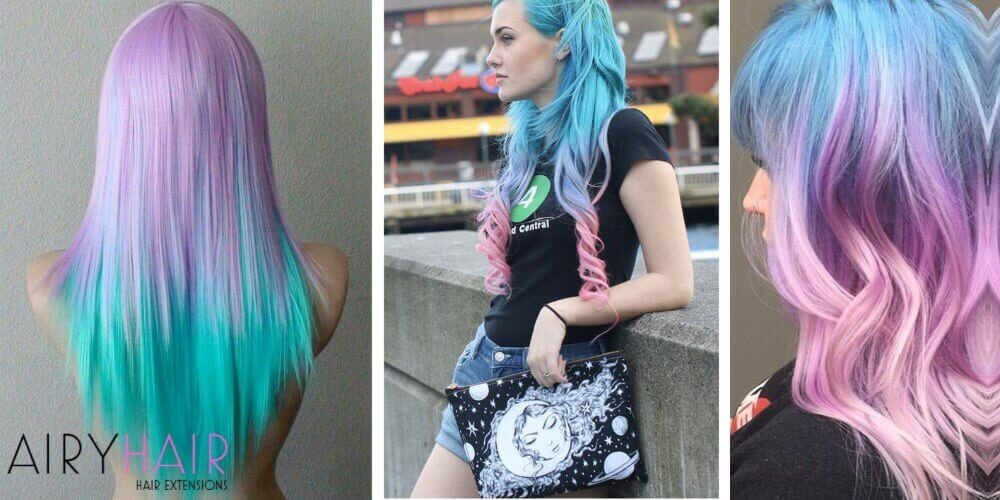 Teal pink hair extensions