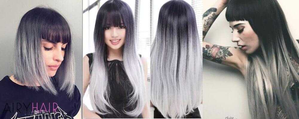 Black And Silver Ombre Hairstyle With Bangs