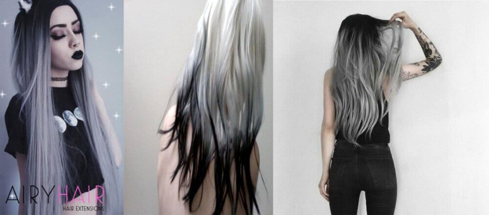Black And Silver Ombre On Extra Long Hair
