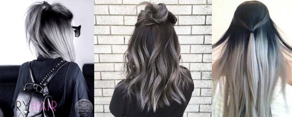 Black And Silver Ombre Hairstyle With A Ponytail