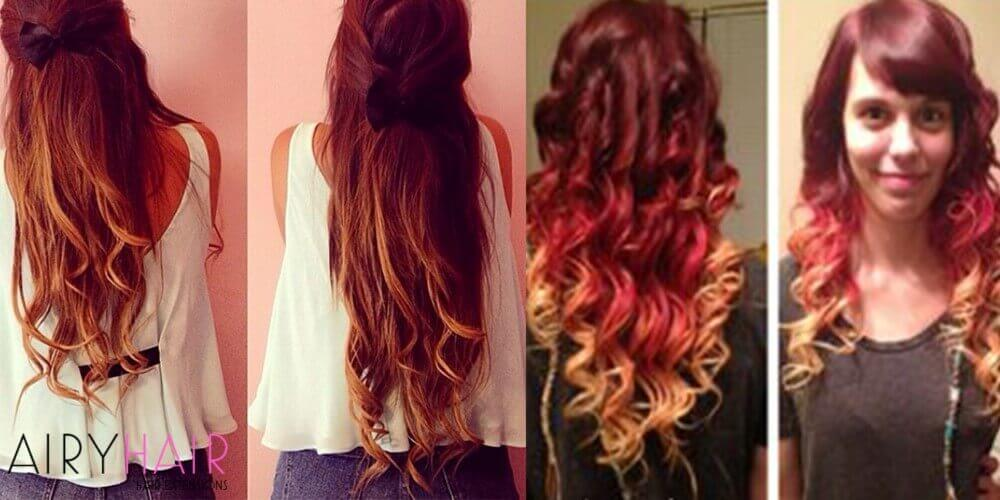 Red pink copper hair extensions