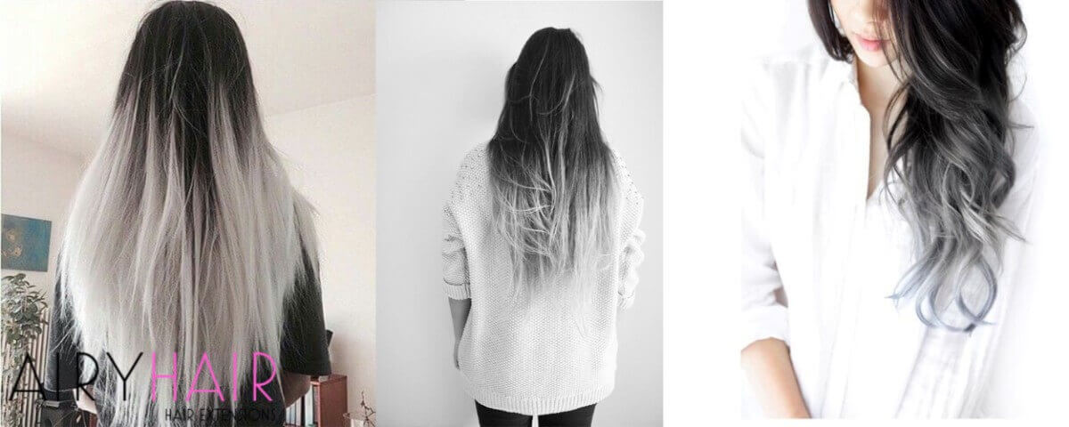 White and Black Ombre Extensions