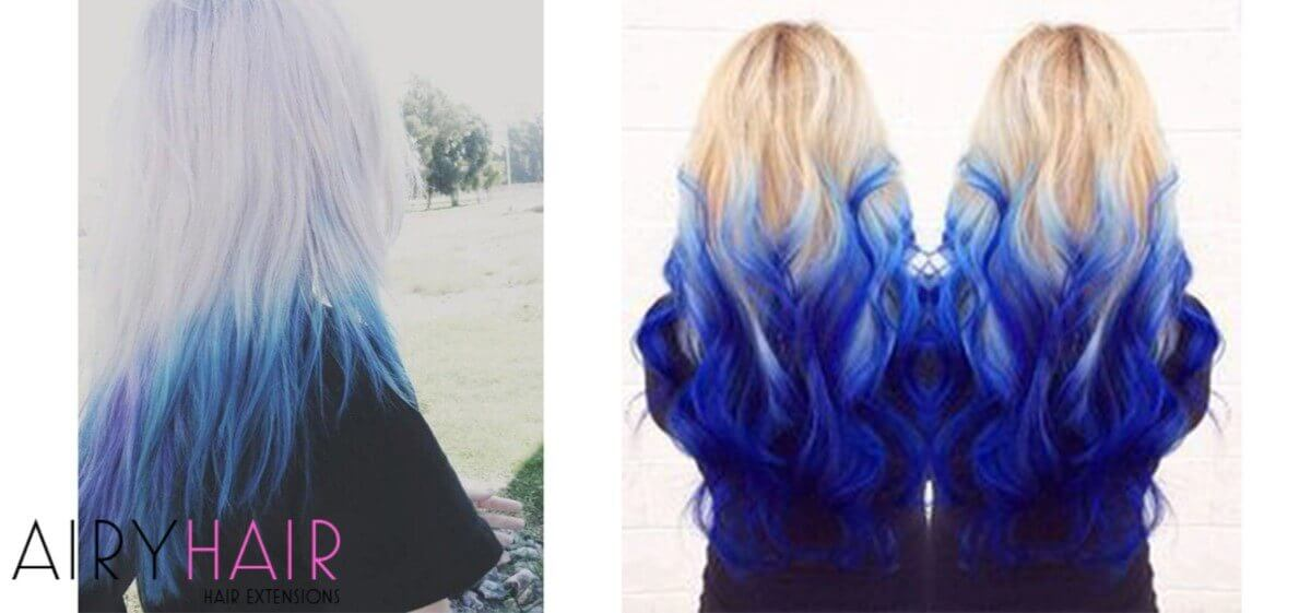 White and Blue Ombre Extensions