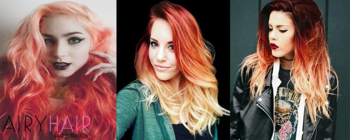 White and Copper Ombre Extensions