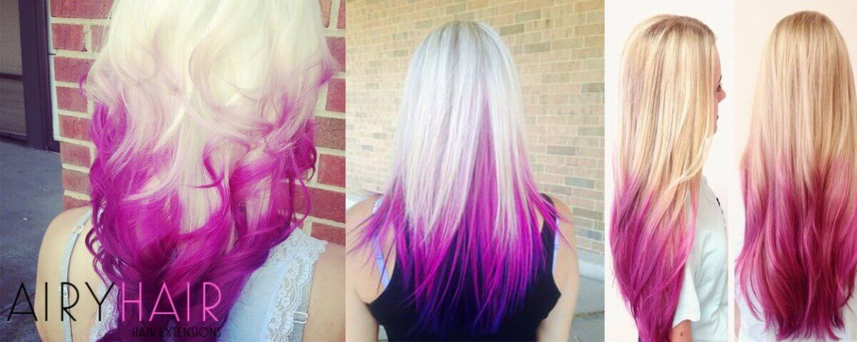 White and Fuchsia Ombre Extensions