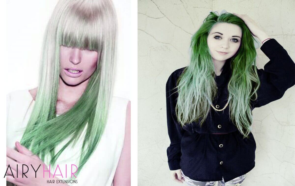 White and Green Ombre Extensions
