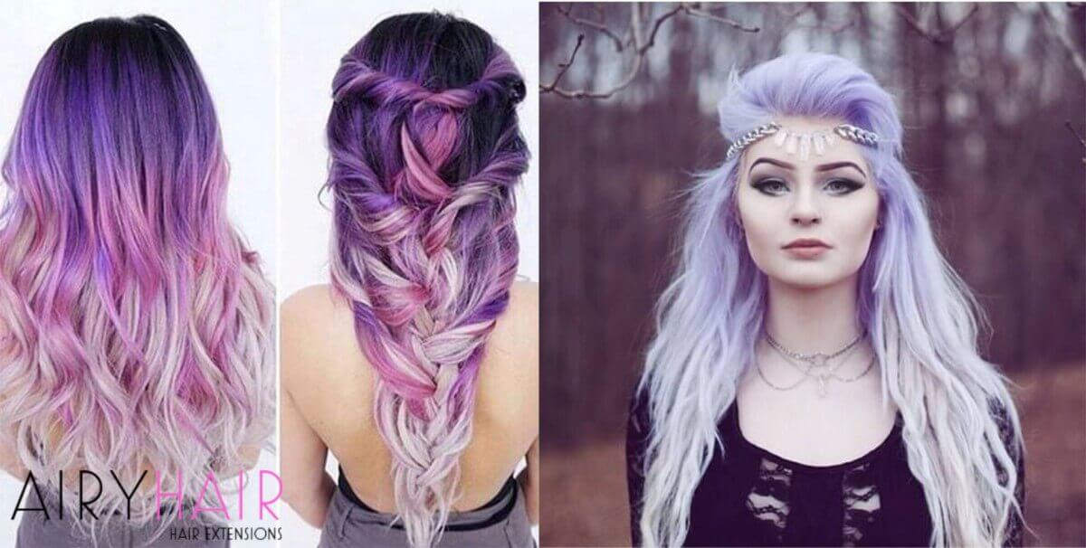 White and Purple Ombre Extensions