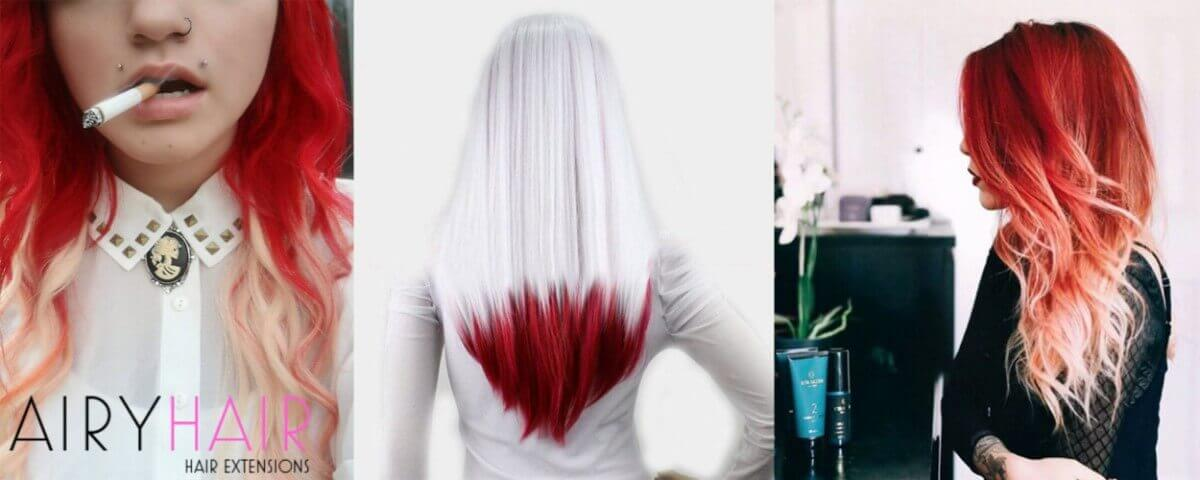 White and Red Ombre Extensions