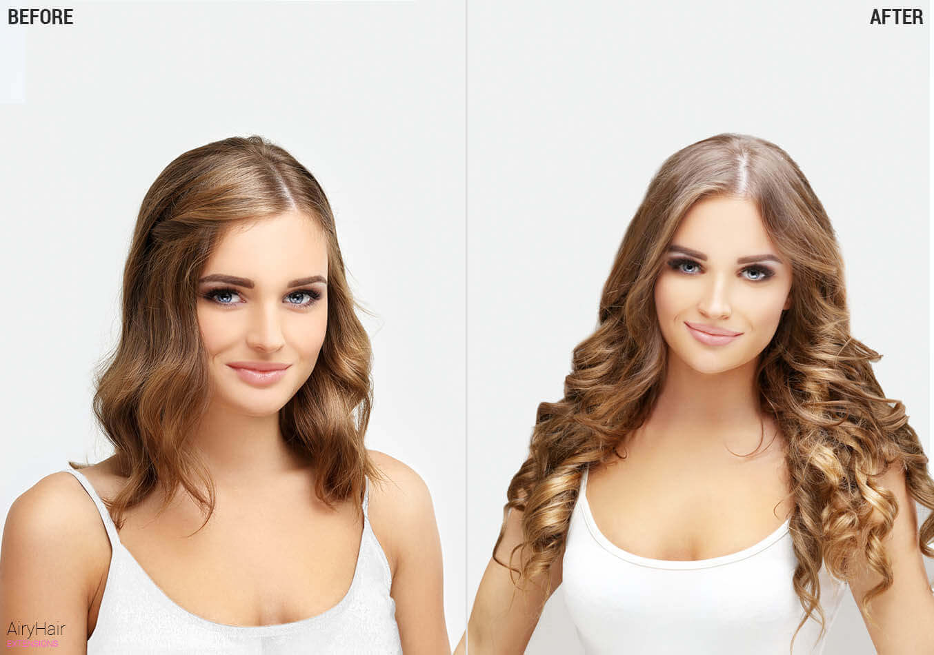 AiryHair clip on extensions, before and after