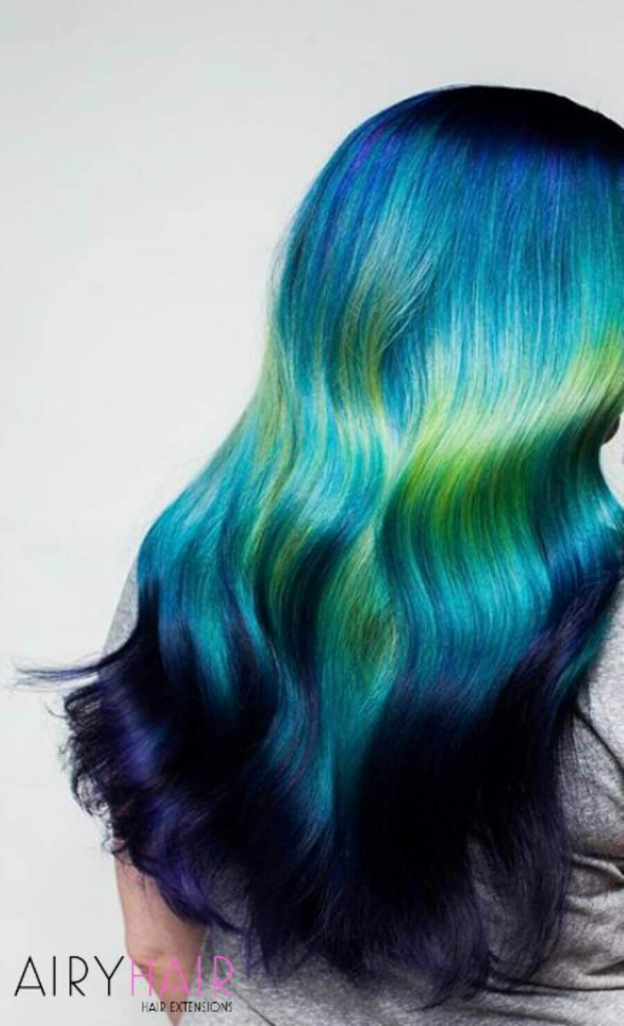 Dark Blue with Turquoise and Yellow Ombre