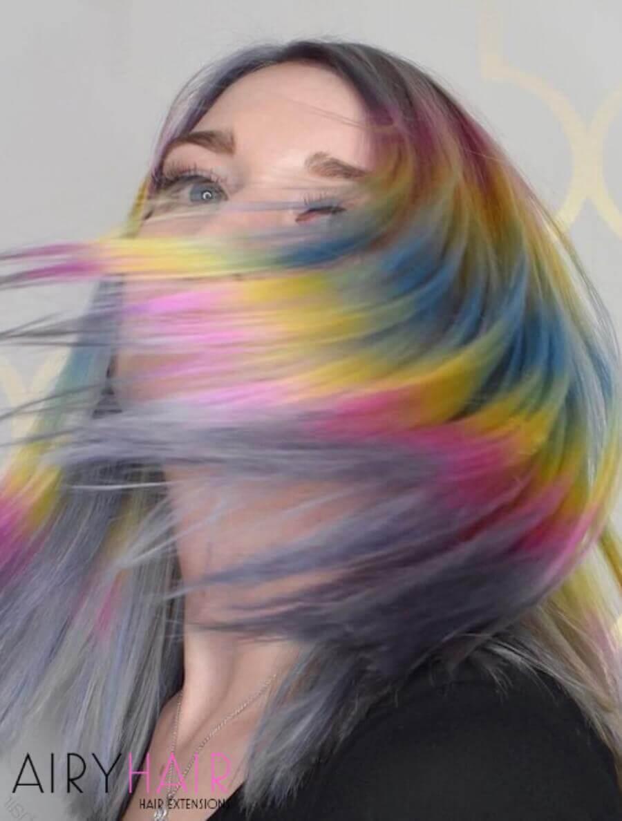 Rainbow Shine Line on Grey Hair