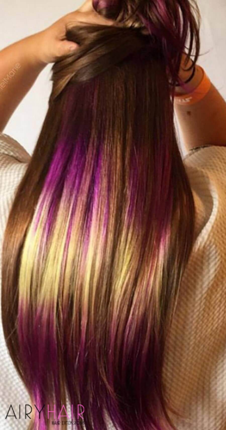 Natural Brown Hair with Yellow and Purple Shine Line