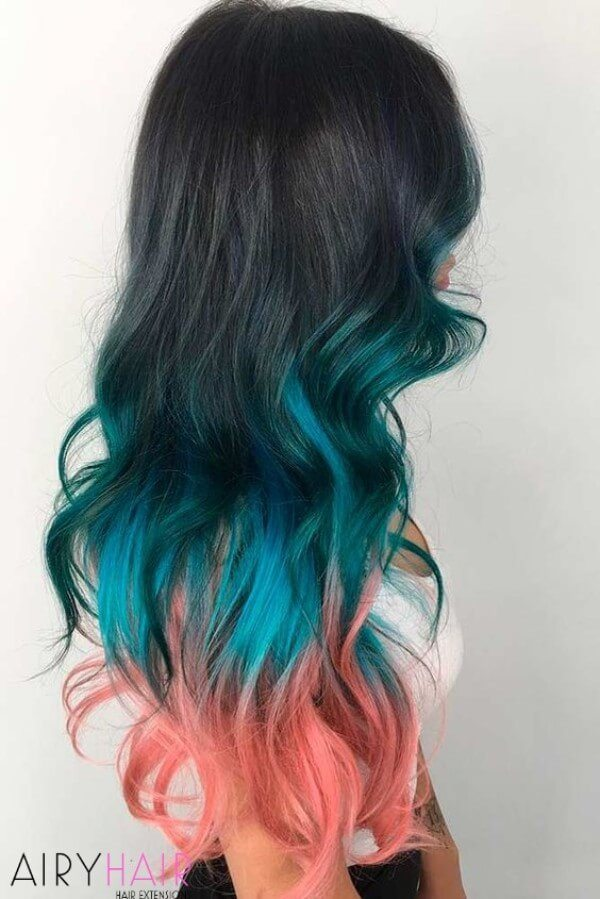Turquoise and rose pink pastel