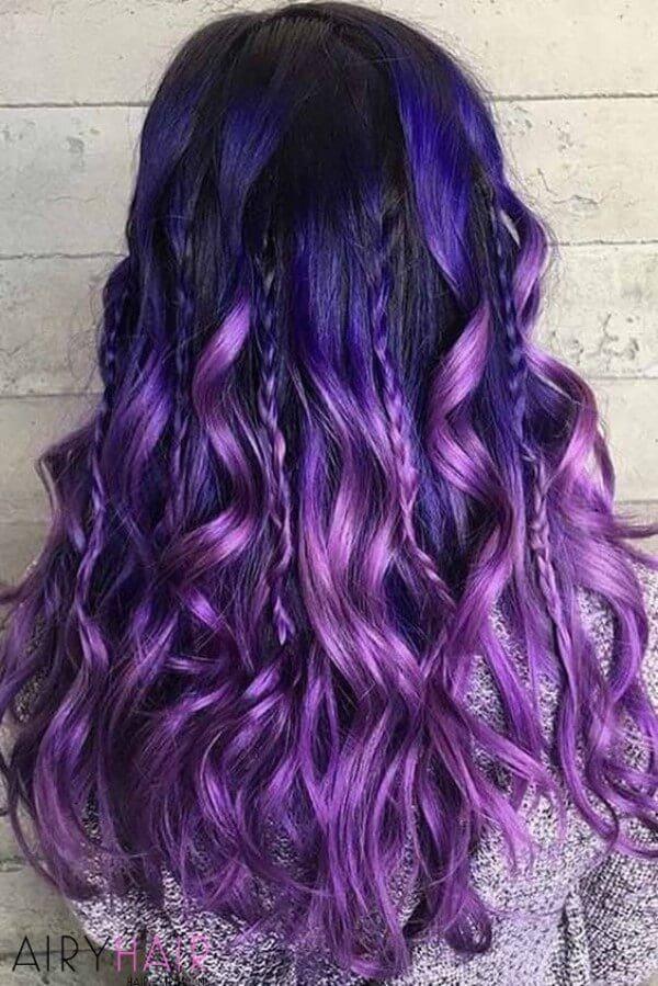 Blue and purple in flowy locks