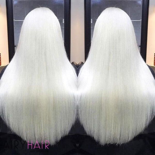 Pure white hair extensions