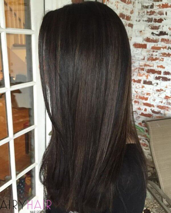 Balayage technique on long straight hair