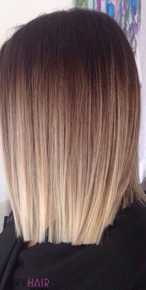 blunt cut with natural shades of brown