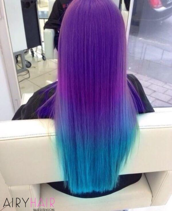 Purple and turquoise ombre
