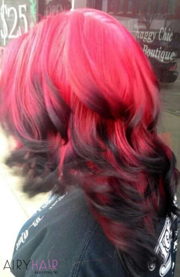 Inverse black and red ombre