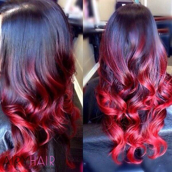 Wavy red, black ombre hair