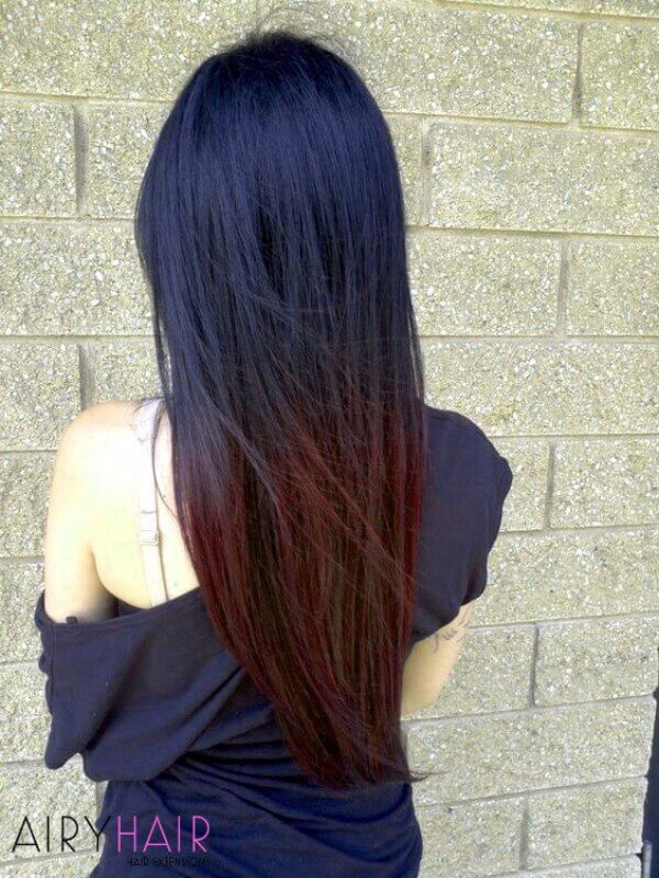 Black and red color hairstyle