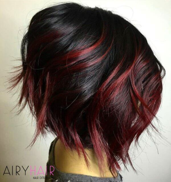 Black and red blunt bob cut