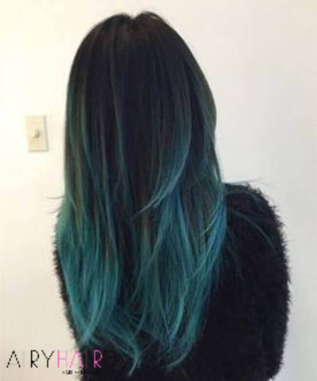 Black and teal ombre