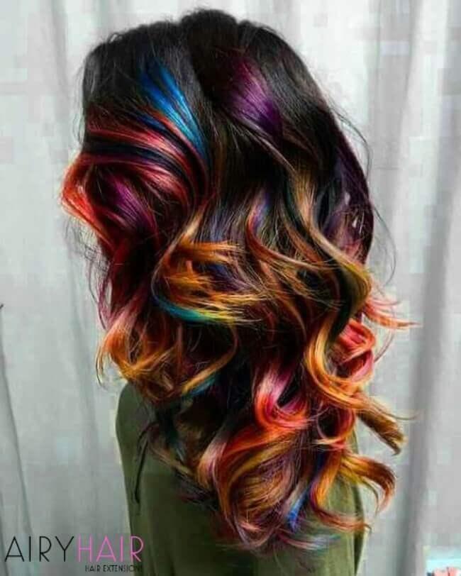 Rainbow ombre hair color