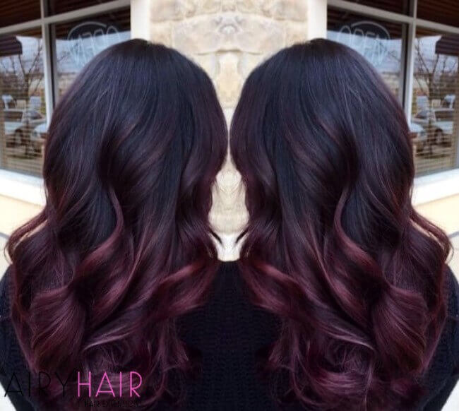 Black and dark pink ombre