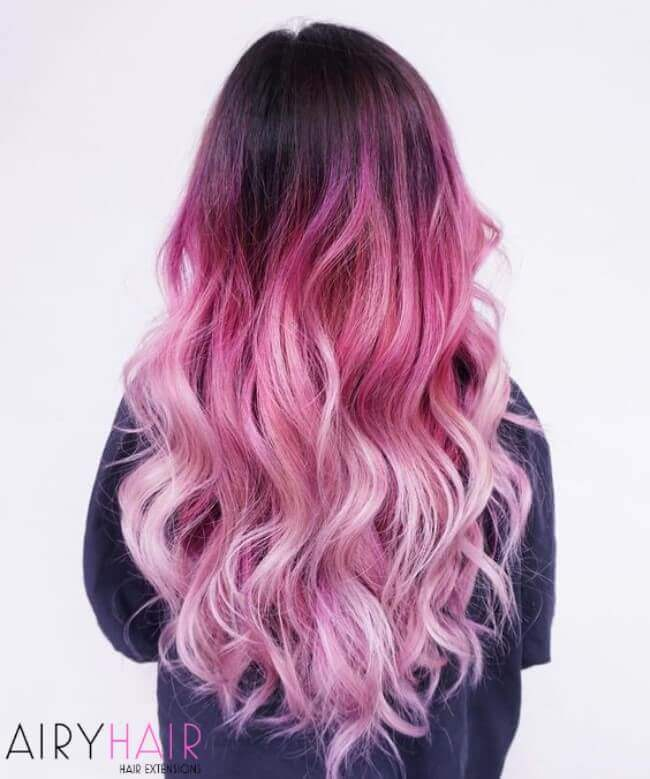 Black to pink and pastel pink hair