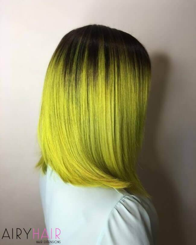Bright neon yellow ombre