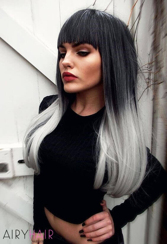 Cool grey and white hair color