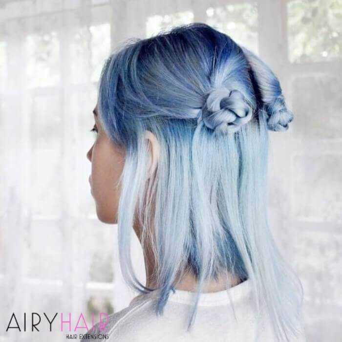 Ice blue ombre hair extensions