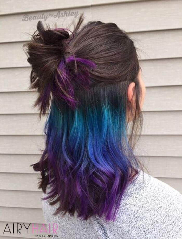 Hidden colorful ombre hairstyle