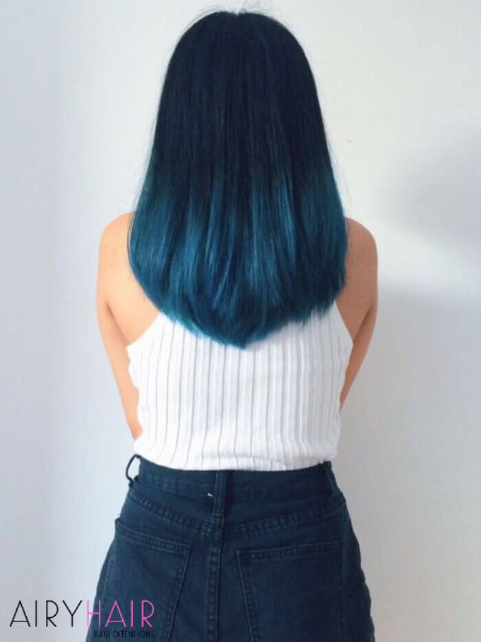 Very dark blue ombre hair