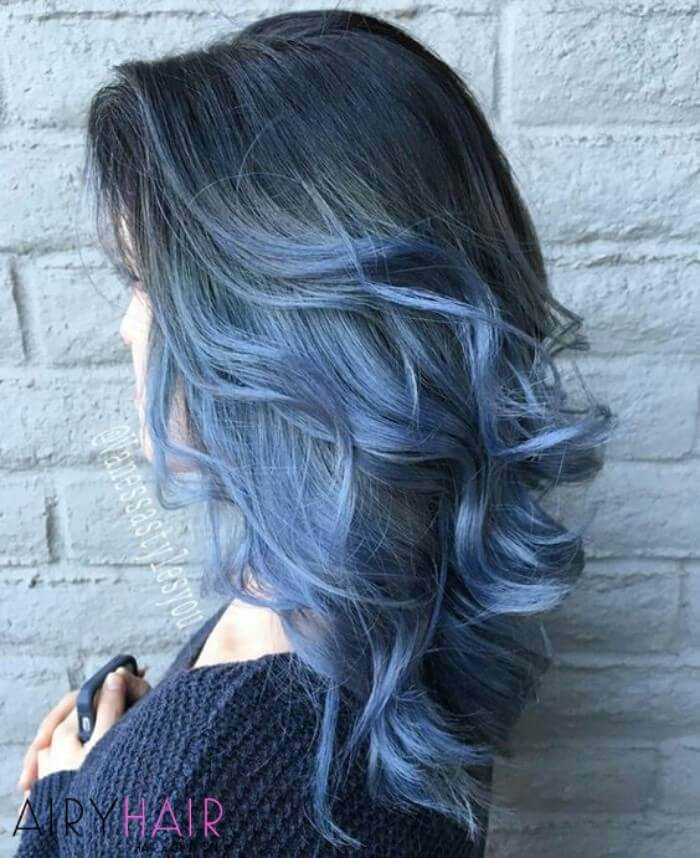 Grey and pastel blue ombre
