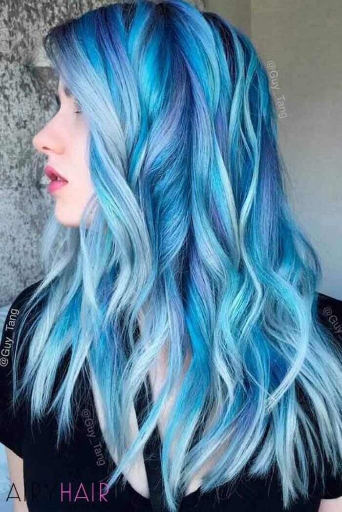 Balayage pastel blue hairstyle