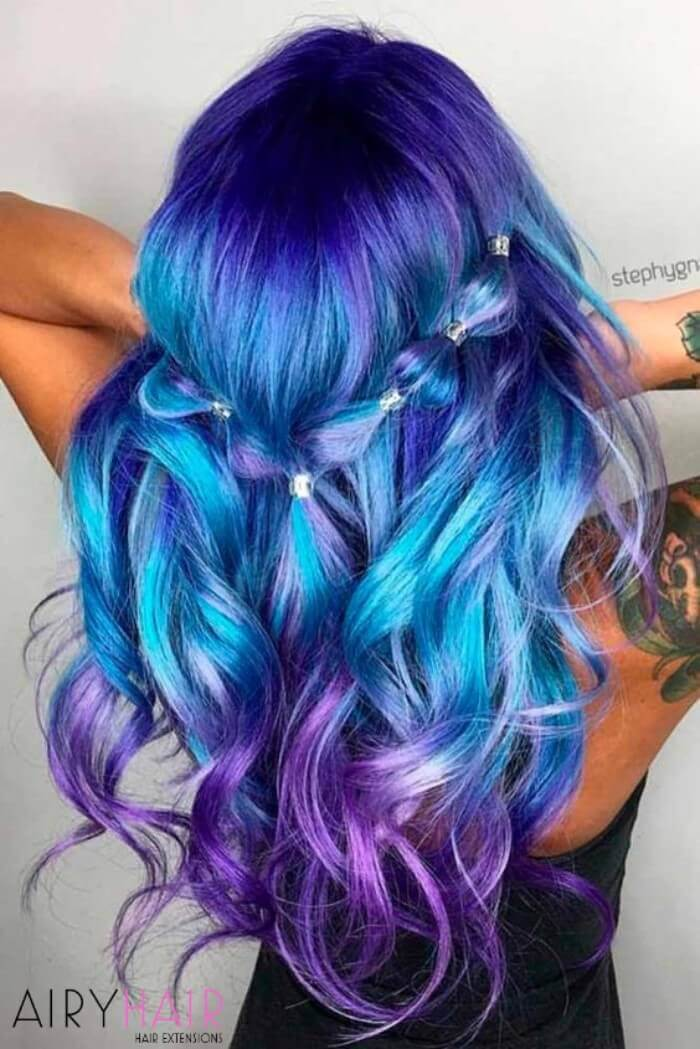 Bright blue, violet ombre hairstyle