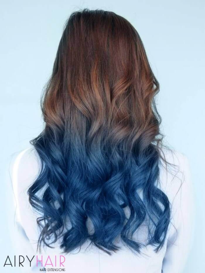 Blue ombre on brown hair