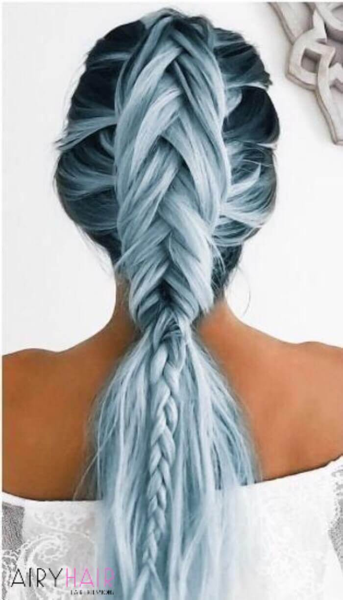 Blue braided extensions hairstyle