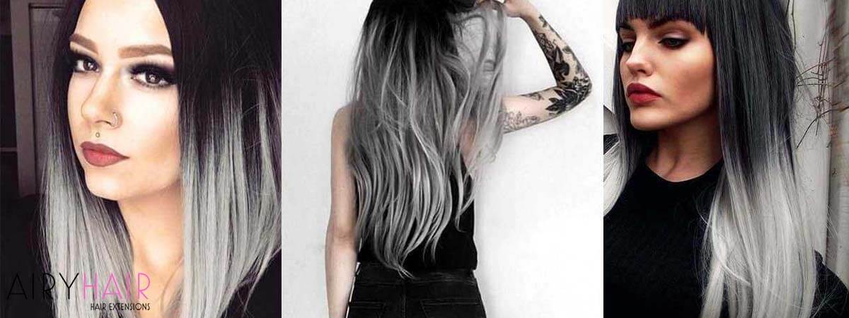 20+ Best Black and Grey Ombré Hair Extension Color Ideas